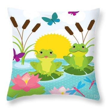 Frog Pond-jp2983 Throw Pillow