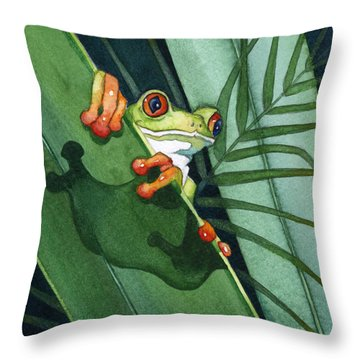 Frog Ready To Leap Throw Pillow