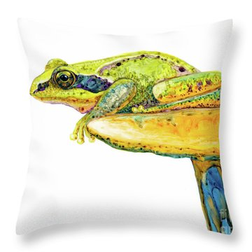 Frog Sitting On A Toad-stool Throw Pillow