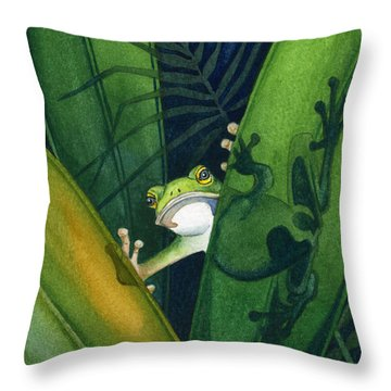 Frog Small Peek Throw Pillow