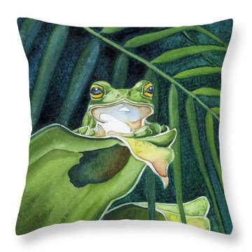 Frog The Pose Throw Pillow