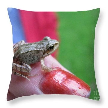 Throw Pillow featuring the photograph Frog The Prince by Ausra Huntington nee Paulauskaite