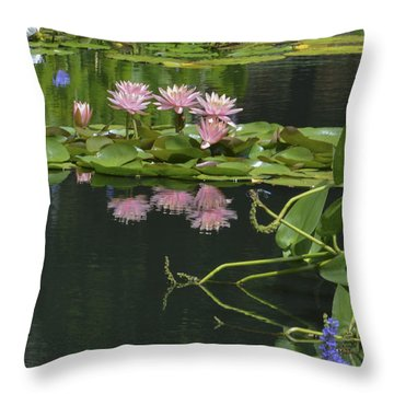 Water Lily Reflections Throw Pillow by Linda Geiger