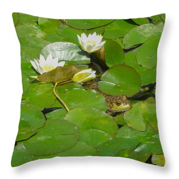 Frog With Water Lilies Throw Pillow