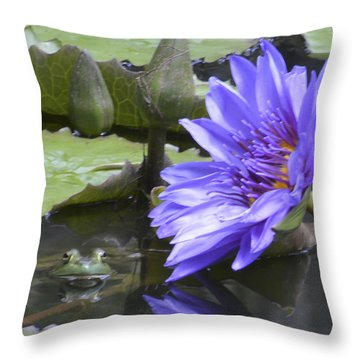 Frog With Water Lily Throw Pillow by Linda Geiger