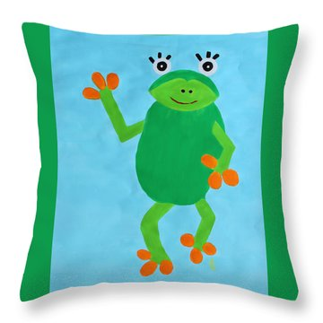 Throw Pillow featuring the painting Froggie by Deborah Boyd