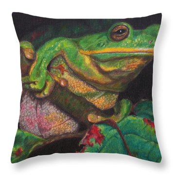 Throw Pillow featuring the painting Froggie by Karen Ilari