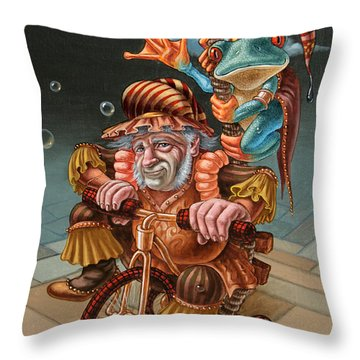 Froggy Circus Throw Pillow