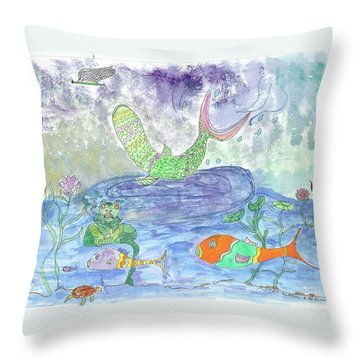 Froggy Delight And Fly Fishing Throw Pillow