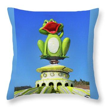 Froggy Throw Pillow by Don Pedro De Gracia