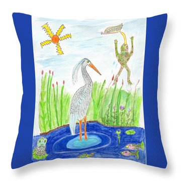 Froggy Fishing Throw Pillow