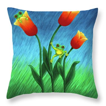 Froggy Tulips Throw Pillow