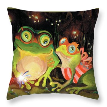 Frogs At Silver Lake Throw Pillow
