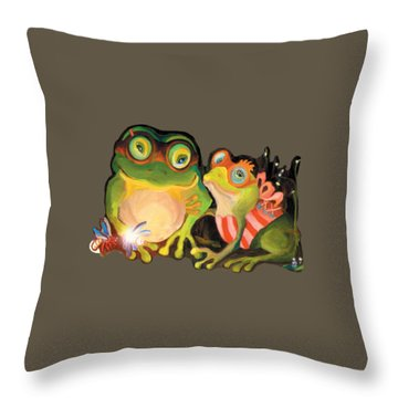 Frogs Transparent Background Throw Pillow
