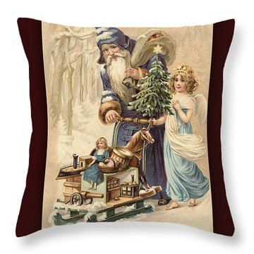 Frohe Weihnachten Vintage Greeting Throw Pillow by Melissa Messick