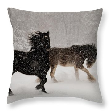 Frolic In The Snow Throw Pillow