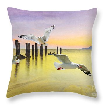 Frolicking Gulls Throw Pillow