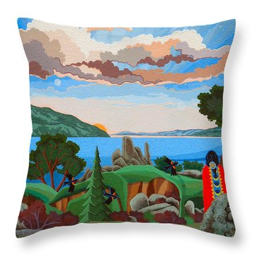 Throw Pillow featuring the painting From A High Place, Troubles Remain Small by Chholing Taha