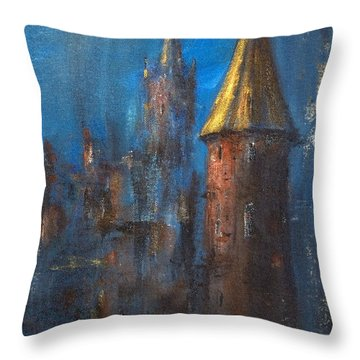 Throw Pillow featuring the painting From Medieval Times by Arturas Slapsys