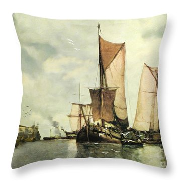 From Sail To Steam - Transitions Throw Pillow by Lianne Schneider