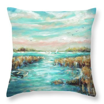 From The Bridge Throw Pillow by Linda Olsen