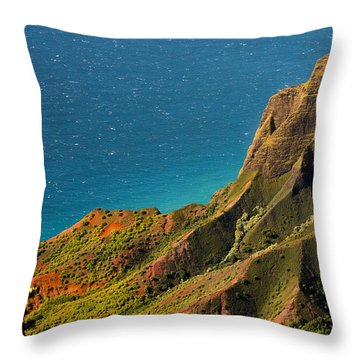 Throw Pillow featuring the photograph From The Hills Of Kauai by Debbie Karnes