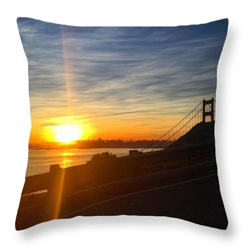 Sunrise Over San Francisco Throw Pillow by Eugene Evon