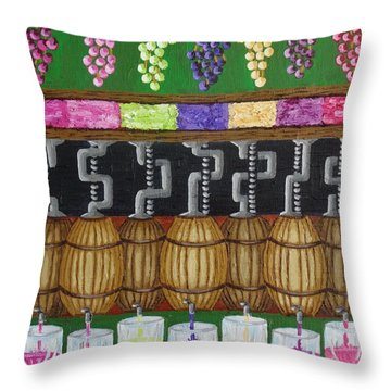 Throw Pillow featuring the painting From Vine To Wine by Katherine Young-Beck