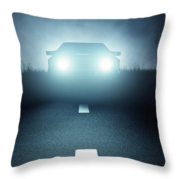 Front Car Lights At Night On Open Road Throw Pillow