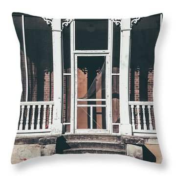 Throw Pillow featuring the photograph Front Door Of Abandoned Building by Kim Hojnacki