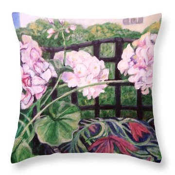Front Porch Flowers Throw Pillow