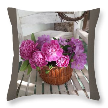 Front Porch Peonies Throw Pillow