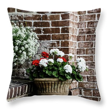 Throw Pillow featuring the photograph Front Porch With Flower Pots by Kim Hojnacki