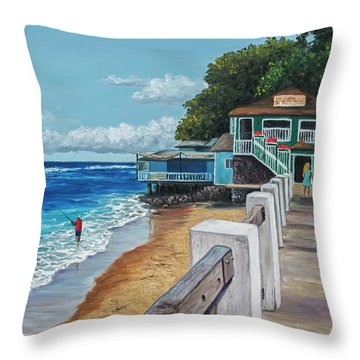 Throw Pillow featuring the painting Front Street Lahaina by Darice Machel McGuire