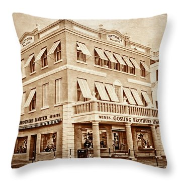Front Street In Bermuda Throw Pillow by Charline Xia