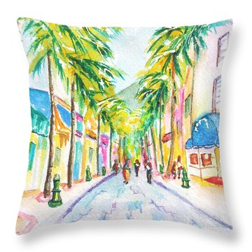 Front Street Philipsburg St. Maarten  Throw Pillow