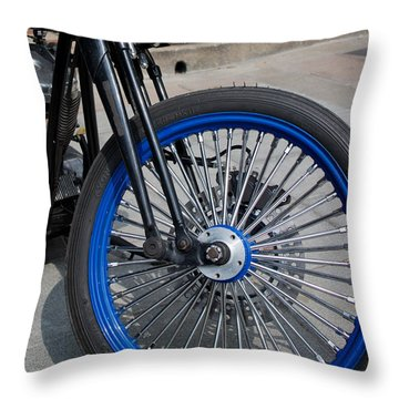 Throw Pillow featuring the photograph Front Wheel With Blue Rims And Fat Chrome Spokes Of Vintage Styl by Jason Rosette