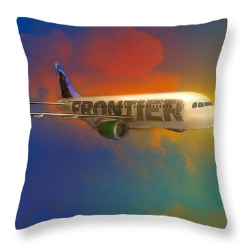 Frontier Airbus A-319 Throw Pillow
