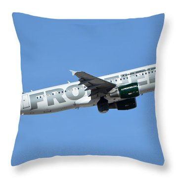 Frontier Airbus A319-214 N210fr Sheldon The Sea Turtle Phoenix Sky Harbor January 21 2016 Throw Pillow by Brian Lockett