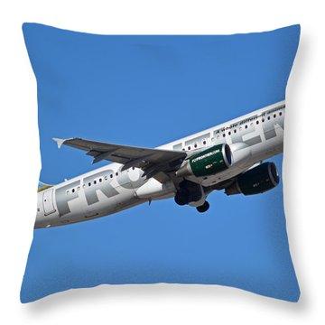 Frontier Airbus A320-214 N213fr Montana The Elk Phoenix Sky Harbor January 12 2015 Throw Pillow by Brian Lockett