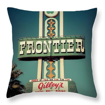 Frontier Hotel Sign, Las Vegas Throw Pillow