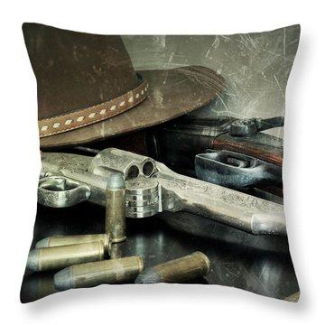 Frontier Lawman Guns Throw Pillow by Scott Kingery