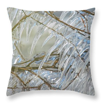Throw Pillow featuring the photograph Frostbite.. by Nina Stavlund