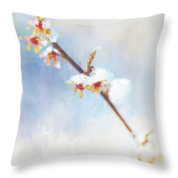 Frosted Witch Hazel Blossoms  Throw Pillow