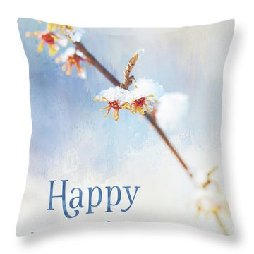 Frosted Witch Hazel Blossoms Holiday Card Throw Pillow