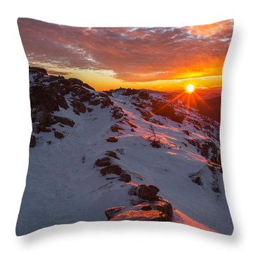 Frosty Alpine Sunset Throw Pillow