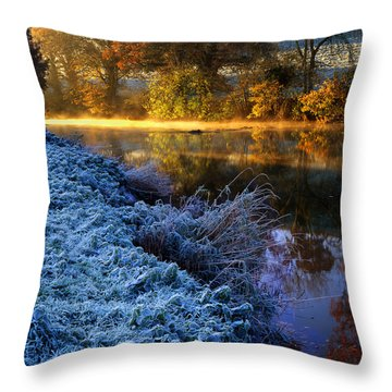 Frosty Autumnal Tamar River Throw Pillow