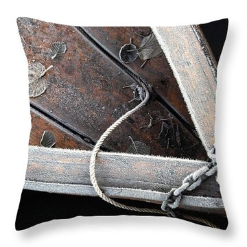 Frosty Boat Throw Pillow by Robert Lacy
