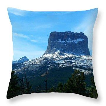 Frosty Chief Mountain Throw Pillow