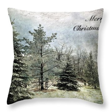 Frosty Christmas Card Throw Pillow by Lois Bryan